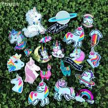 Prajna Hippie Unicorn Animal Stripe On Clothes Embroidery Iron Patches For Kids Clothing DIY Patch Applique Sticker
