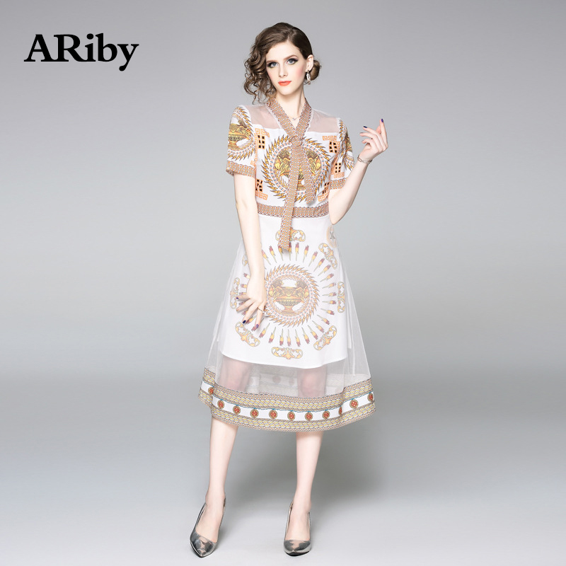 ARiby Summer Dress Elegant Women V Collar Dress 2019 New Fashion Lady Short Sleeve Mesh Splice Printed A-Line Mid-Calf Dresses