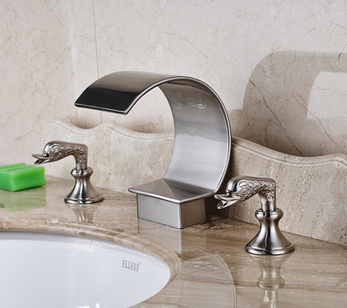 Nickel Brushed Finished Deck Mounted Bathroom Sink Faucet Two Handles Hot and Cold Water Mixer Tap duzi waterfall water mixer nickel brushed bathroom sink faucet tap cold hot with sink faucet hole cover deck plate escutcheon