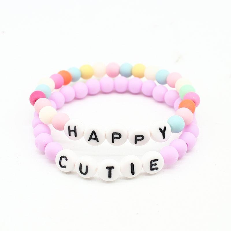 c45eb15e8e081 ISINYEE Fashion Happy Cutie Letter Charm Bracelet Girls Kids 6mm ...