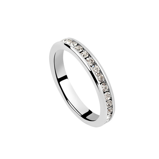 White Austrian Crystal Chic Wedding Band Ring Marriage Engagement Simple Style Gifts For Brides