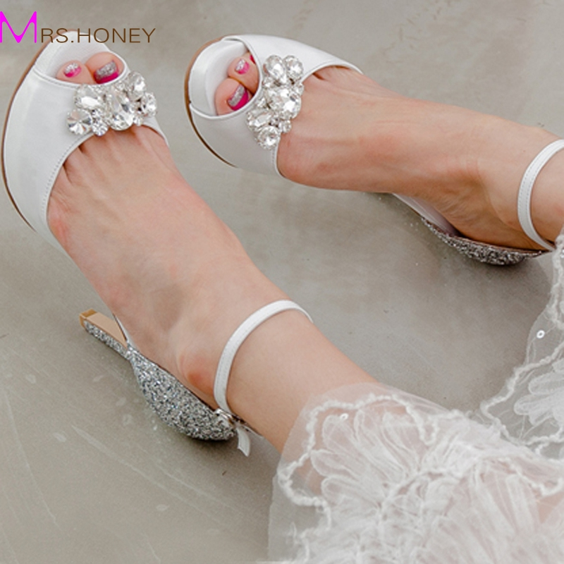цена на Genuine Leather Peep Toe White High Heels Buckle Strap Bridesmaid Shoes Silver Sequined Wedding Dress Shoes Fashion Party Pumps