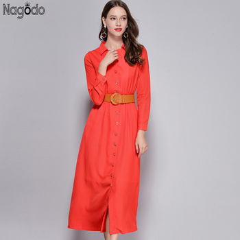 High Quality Elegant Red Long Sleeve Dress 2019 Autumn Button Mid-calf Ladies Party Dresses A-line Casual Dress Summer Sunscreen