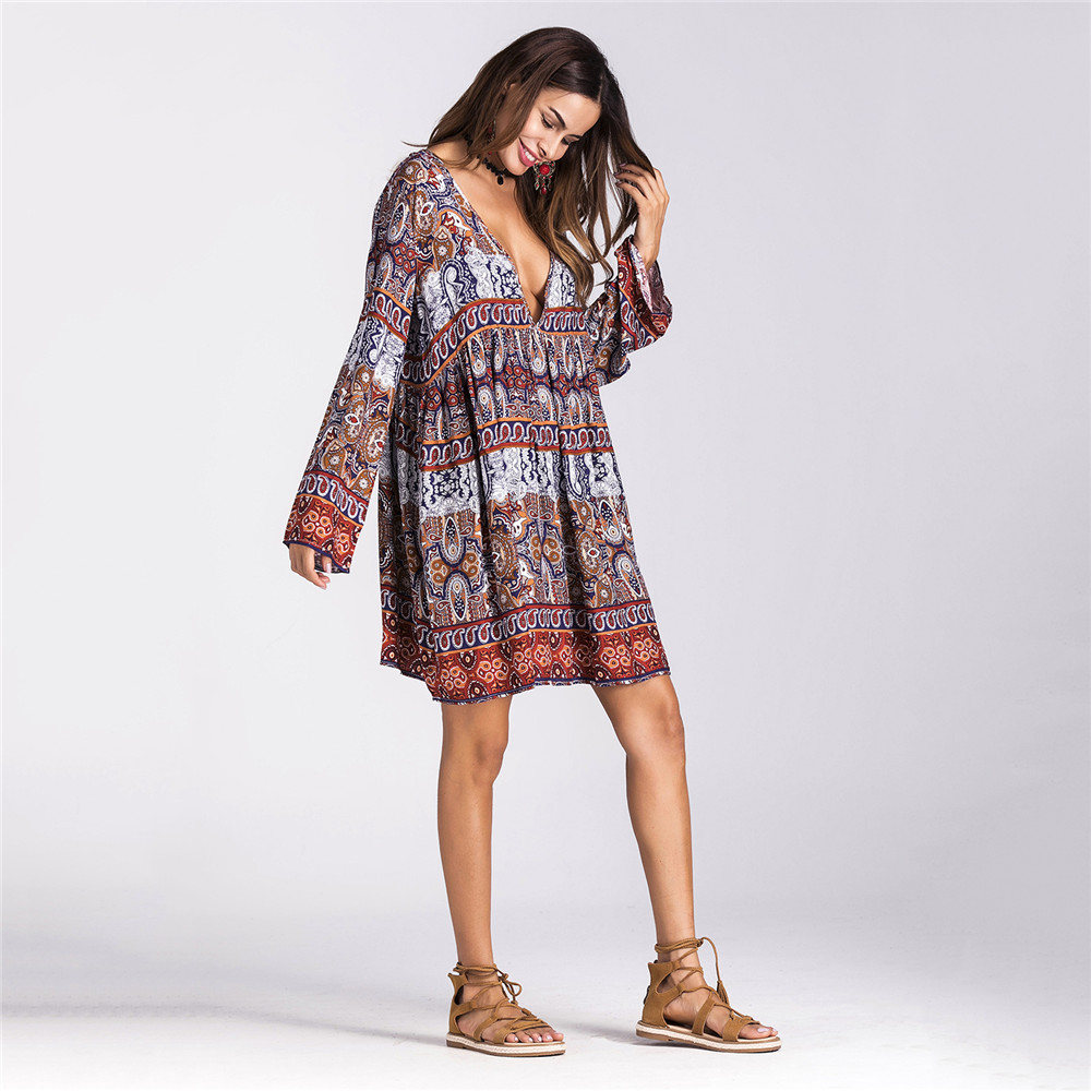 GHZTYF Ladies Fall Sexy Dress 2019 Femme Bohemian Beach Loose Print Long Sleeve Dresses Women Summer V neck Robe Longue in Dresses from Women 39 s Clothing