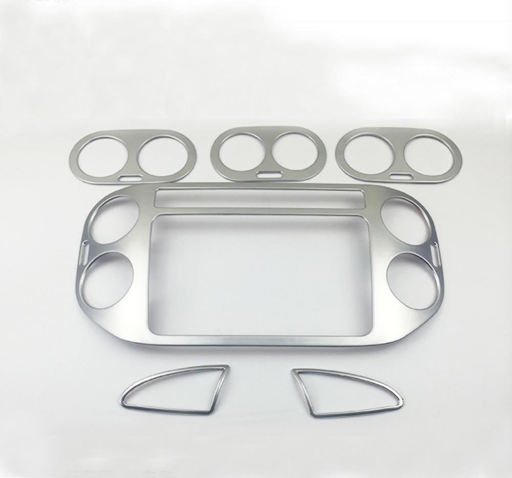 Centrale Dashboard Panel + Rear Air Voorwaardelijke Vent ABS Matte Binnen Auto accessoires Voor Tiguan 2012 2015 - 5