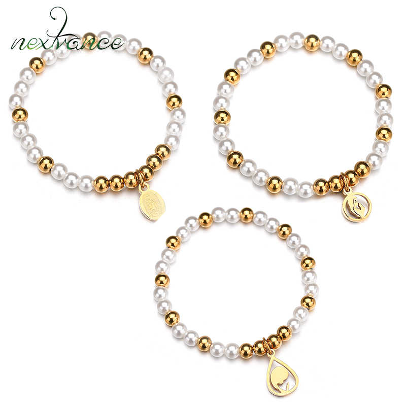 Nextvance Stretch Waterdrop Virgin Mary Bracelet Religious Elastic Imitation Pearl Rosary Bracelet for Girl Christmas Gift