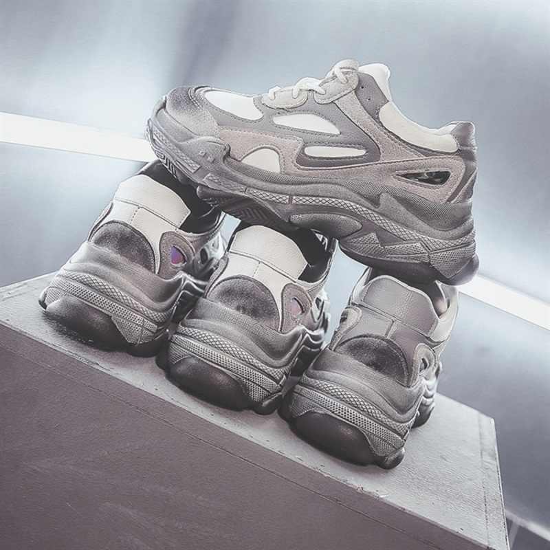 Moda platforma trampki nowy 2019 wiosna damskie buty kobieta buty w stylu casual dzikie platformy kobiet rozrywka mieszkania kobiet Sneakers