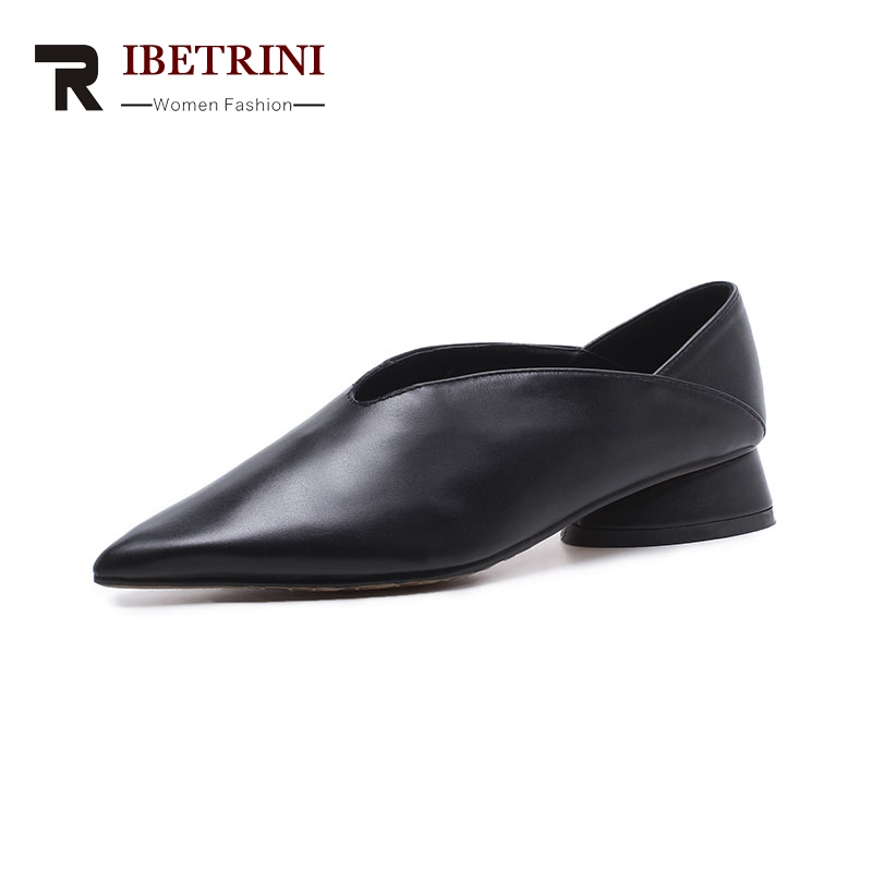 RIBETRINI 2018 Cow Leather Large Size 33-43 Pointed Toe Women Shoes Woman Slip On Square Low Heels Pumps Woman Shoes ribetrini summer large size 34 40 cow genuine leather woman shoes mix color leisure flats women shoes sneakers