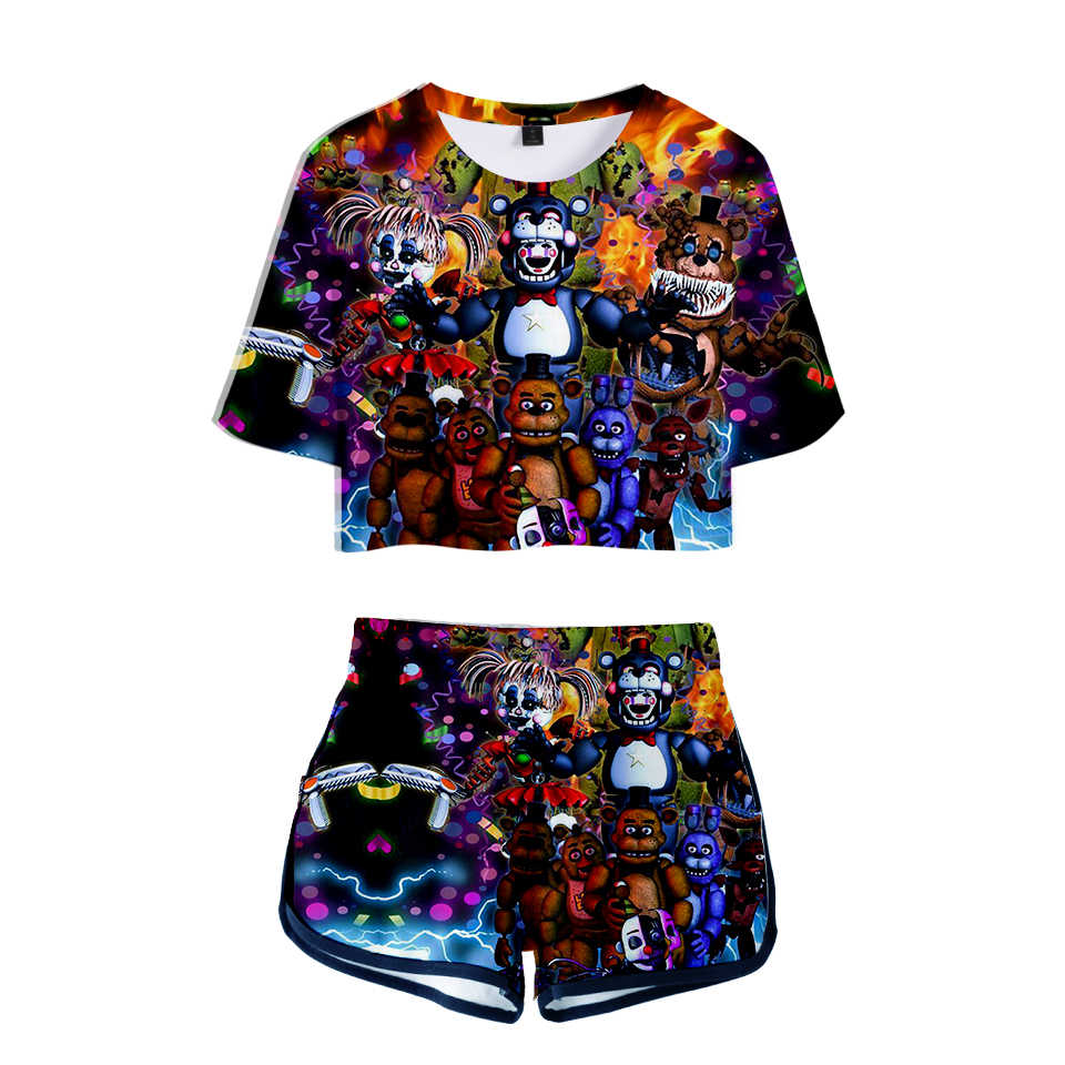 LUCKYFRIDAYF 3D Five Nights at Freddy Summer Shorts And T-shirts Women Two Piece Sets Pumpkin Pop Crop Top Casual Clothes