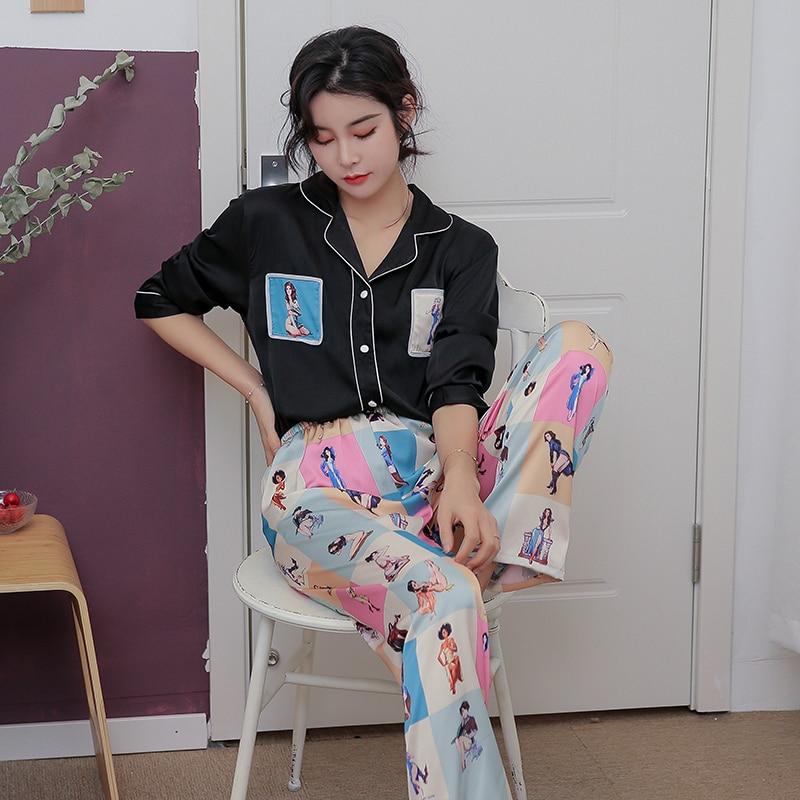 Image 2 - JRMISSLI Euorpean style Womens Pajama Set Satin Sleepwear Loungewear Autumn Long Sleeve Nightwear Silk-in Pajama Sets from Underwear & Sleepwears