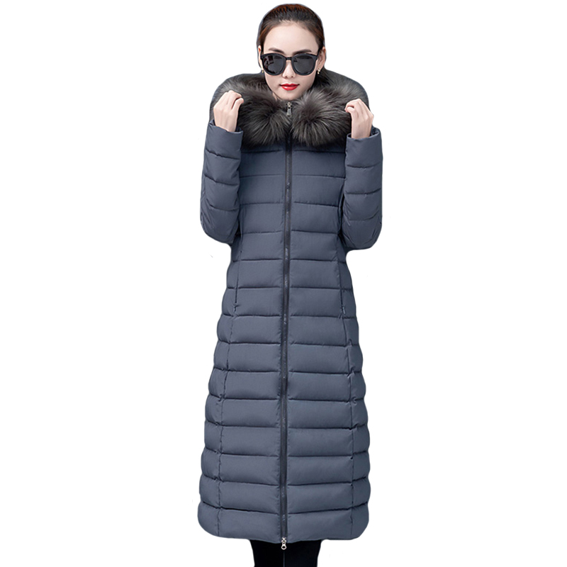 Women Winter Jacket 2019 High Quality Warm Thicken X-long Female Winter Coat Outwear Padded With Fur Hooded Womens   Parka     Parkas