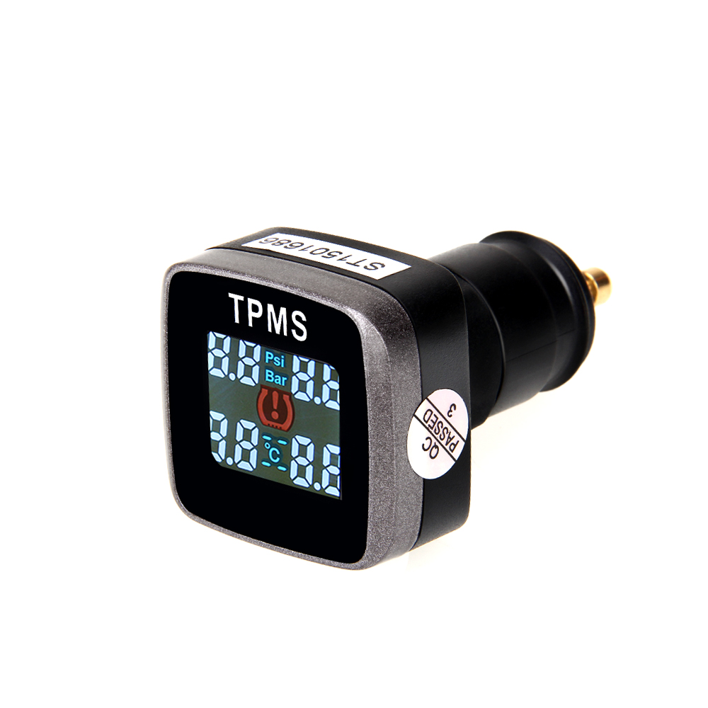 ФОТО Car TPMS Tire Pressure Monitoring System 4 External Cigarette Lighter Sensors With USB Charger LCD Wireless TPMS Free Shipping