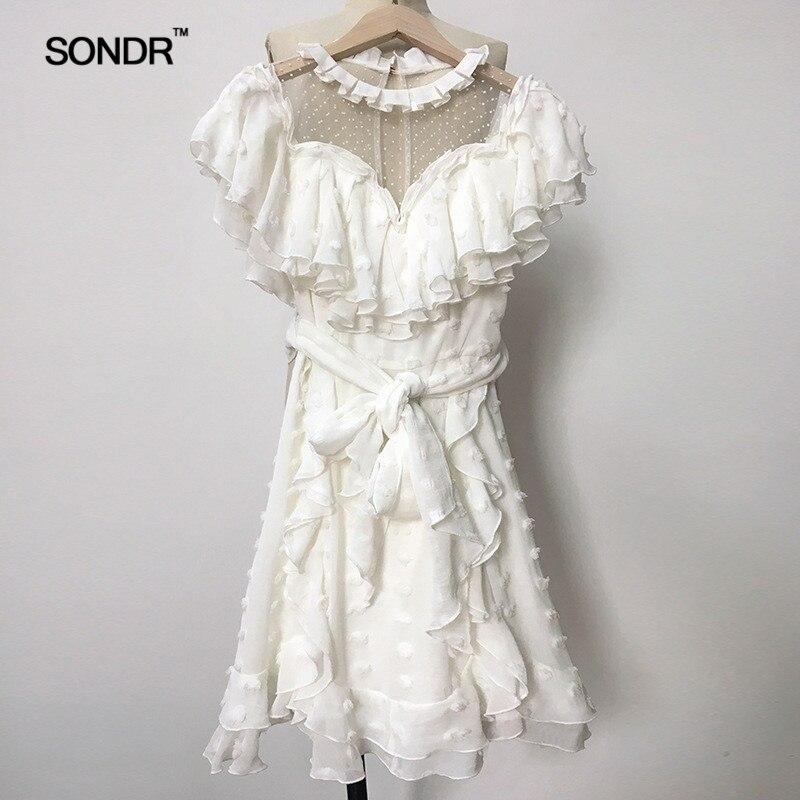 SONDR 2019 весна лето o образным вырезом воротник с коротким рукавом белый перспективный горошек печатных оборками Мини платье Женская мода Tide - 6
