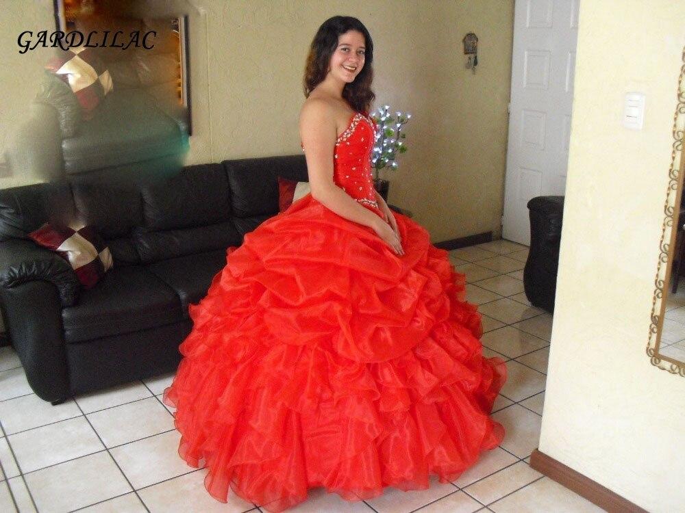 En stock 2019 100% véritable Organza ébouriffé rouge Quinceanera robes robe De bal avec perle douce 16 robes Vestidos De 15 Anos