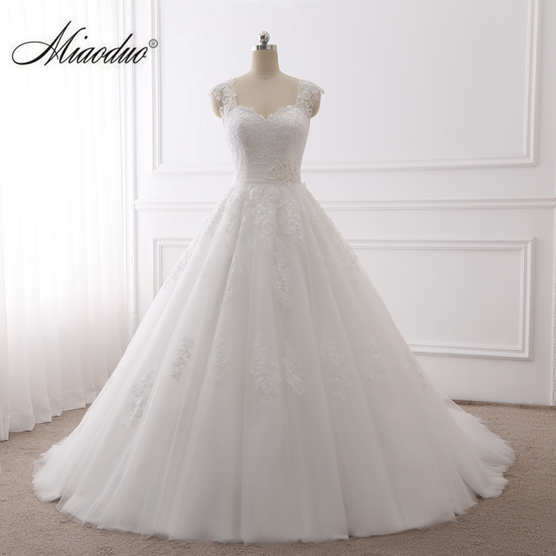 Miaoduo 2019 Ball Gown Wedding Dresses Pearls Lace Appliques Bridal Gowns Vestido De Novias Princess Luxury