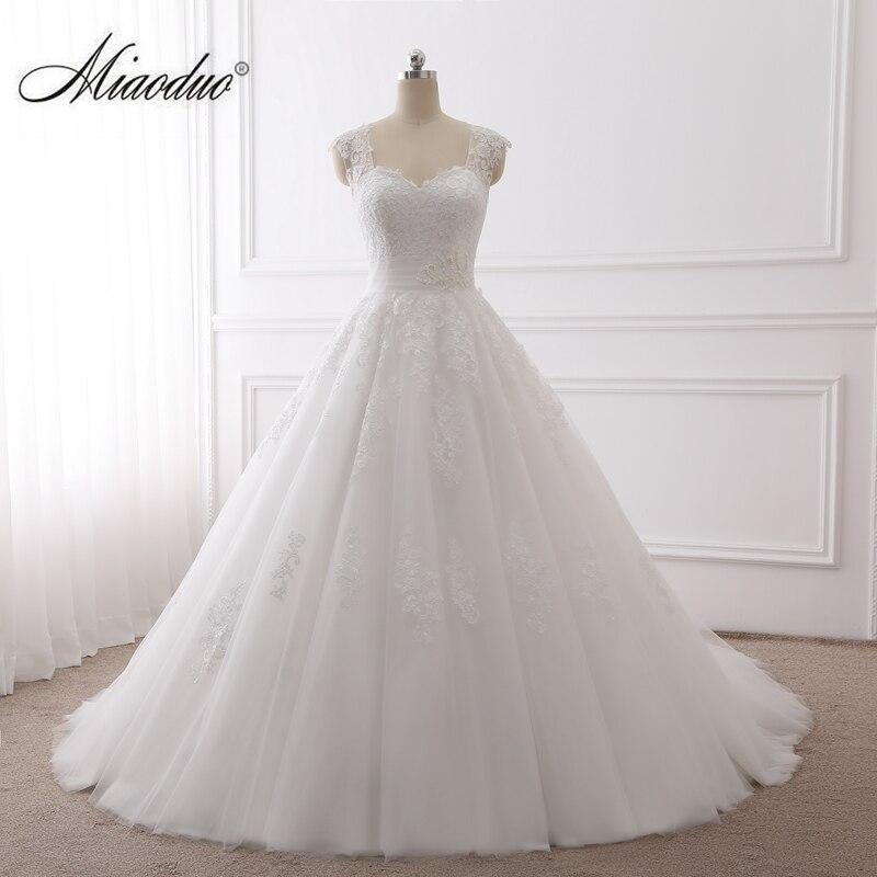 Miaoduo 2019 Ball Gown Wedding Dresses Pearls Lace Appliques Bridal Gowns Vestido De Novias Princess Luxury Cathedral Train