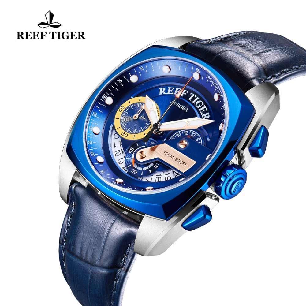 2019 שונית טייגר/RT למעלה מותג אופנה שעונים גברים יוקרה Chronograp עור 100 M עמיד למים ספורט שעון Relogio Masculino RGA3363
