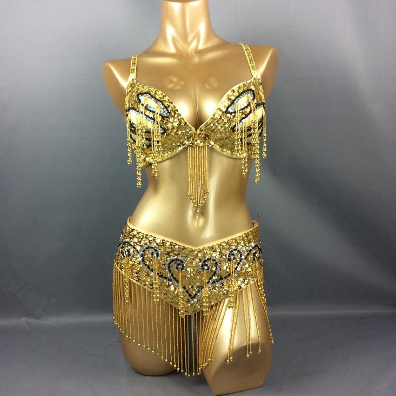 New Women s beaded belly dance costume halloween wear Bar Belt 2pc set ladies belly dancing