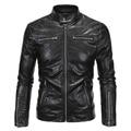 2017 chegada nova jaqueta de couro homens slim fit zippers motocicleta pu casaco outwear M-5XL AYG97