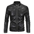 2017 new arrival men leather jacket slim fit zippers motorcycle pu coat outwear M-5XL AYG97