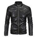2017 nueva llegada de los hombres de la chaqueta de cuero slim fit cremalleras motocicleta de la pu outwear M-5XL AYG97