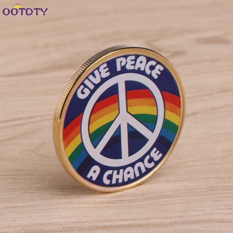Conmemorativo Chapado en moneda famoso músico John Lennon recuerdo dorado colección de arte regalos dar paz arco iris