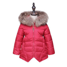 2017 New Kids Girls Winter Coat Warm Jacket Fur Collar Hooded Children Outwear 95% Hollow Cotton Coat