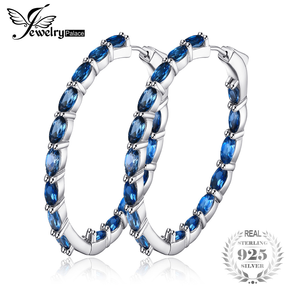 JewelryPalace Huge 13.5ct Genuine Londun Blue Topaz Hoop Earrings 925 Sterling Silver  New Fine Jewelry For Women Wife  GirlJewelryPalace Huge 13.5ct Genuine Londun Blue Topaz Hoop Earrings 925 Sterling Silver  New Fine Jewelry For Women Wife  Girl