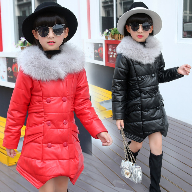 Girl Down Coat PU Leather Parka Thick Winte Raccoon Fur Collar Girls Cotton Jacket Down Outfit Girls Winter Clothes SYHB120501 рюкзак girl pu yt00172334