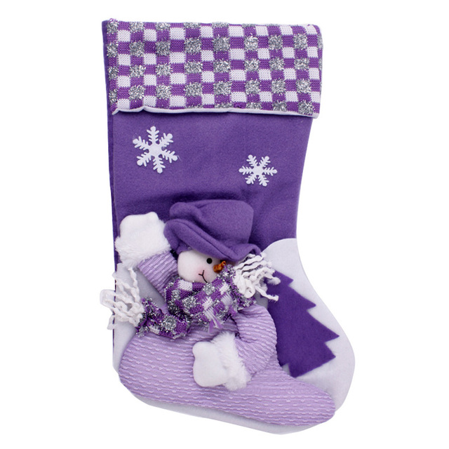 40cm large 3d snowman and snowflakes pattern home decoration and kid gift bag purple christmas stockings - Purple Christmas Stocking
