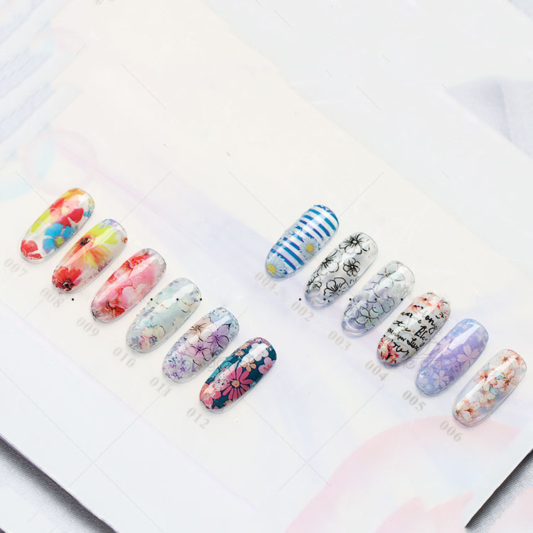1 Sheet4 70CM Flowers Shell Abalone 3D Pattern Nail Foils Gradient Marble Design Foils Nail Art Thermal Transfer Foil in Stickers Decals from Beauty Health