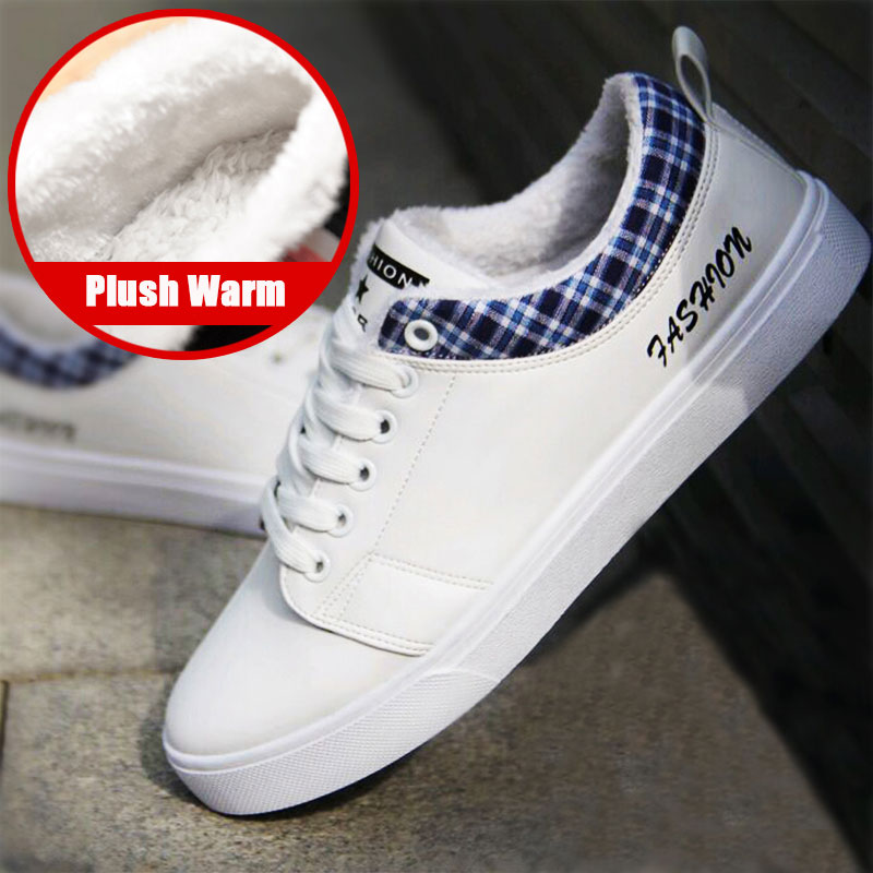 Surom Winter Warm Plush Men Leather Casual Shoes Breathable Lace up Flat Shoes Classic Black Male Sneakers Adult mocassin homme