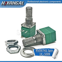 5pcs RV097NS 50 20 10 5K K K K 100K 500K com um interruptor de áudio 5pin eixo de 15mm amplificador potenciômetro vedação hjxrhgal