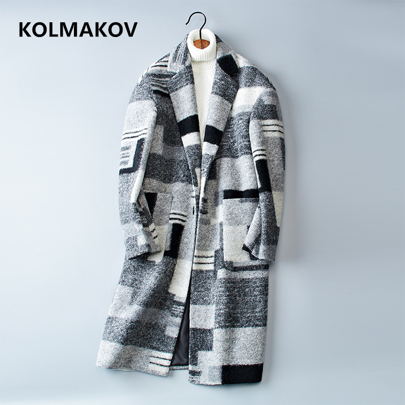 2018 New Double-faced Woolen Coats Men's Long Trench Overcoat Autumn Winter Casual Wool Men Dress Plaid Jackets Plus Size M-3XL