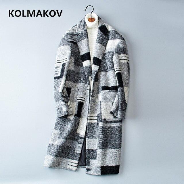 2018 Новый двусторонний шерстяные пальто Для мужчин; длинный плащ пальто осень-зима Повседневное шерсть Для мужчин платье плед Куртки Плюс Размеры m-3XL