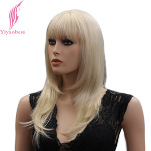 Image 3 - Yiyaobess 18inch Light Blonde Medium Long Straight Wig With Bangs Natural Synthetic Hair Wigs For Women Japanese Fiber