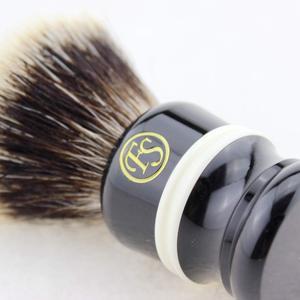 "Image 3 - ""Fs"" 24 Mm Fan Vorm Manchurian Finest Badger Scheerkwast Zwart & Wit Handvat + Gratis Stand + Gratis Verzending"