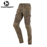 ROCK BIKER Elastic Skinny Motorcycle pants Men Motocross Moto Racing jeans Trousers harley design Zipper Protective Gear pants