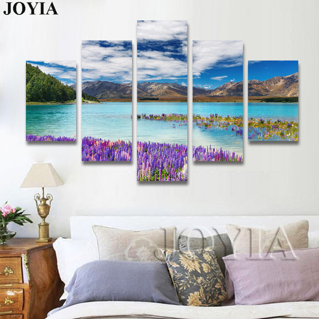 5 Piece Canvas Wall Art, Nature Scene Photograph Canvas Prints, Lake ...