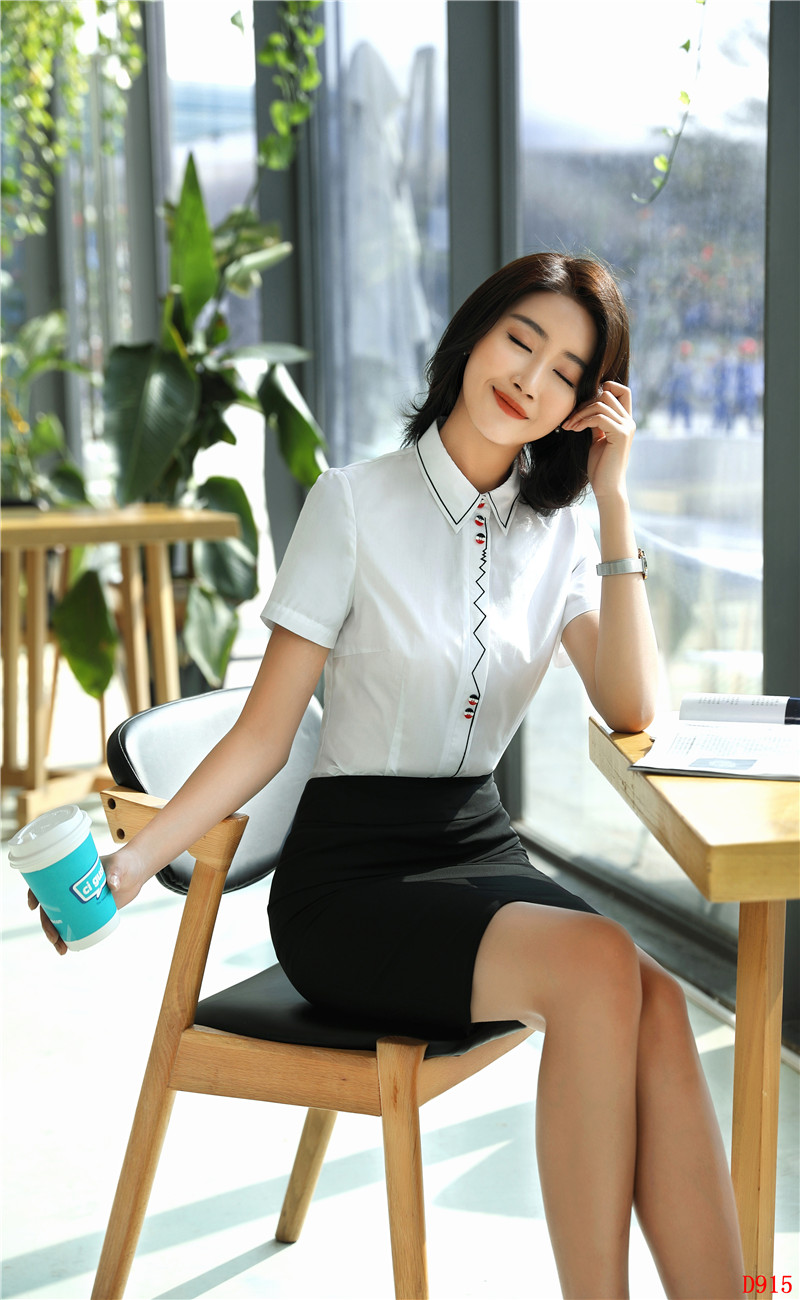 Female Summer Tops Ladies Women 2 Sets Piece Business White Suits Wear Short Work Skirt Shirts Clothes And amp; Blouses w8aCqwrc