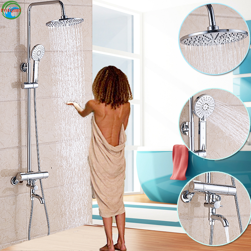 8 Chrome 1 Set ABS Shower Head Bathroom Faucet Mixer Thermostatic Tap Shower Faucet Rainfall Round