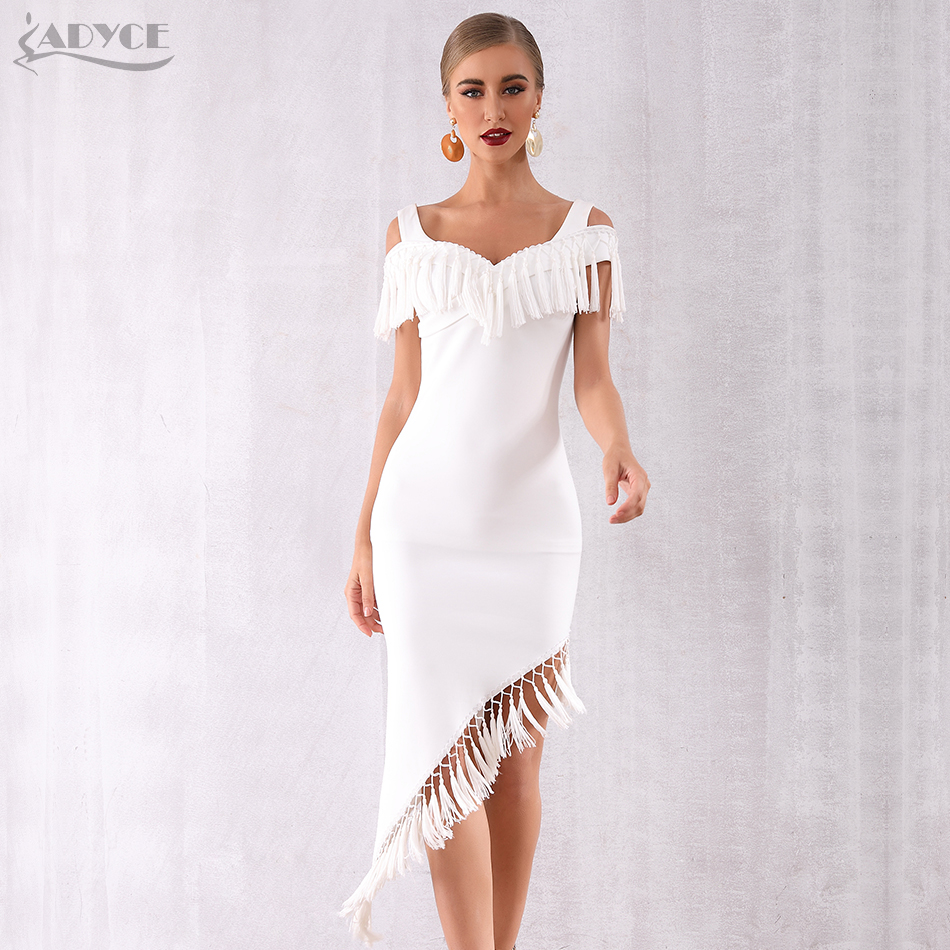 Adyce 2019 Summer Women Tassels White Celebrity Evening Party Dress Vestidos Elegant Short Sleeve Black V Neck Fringe Club Dress