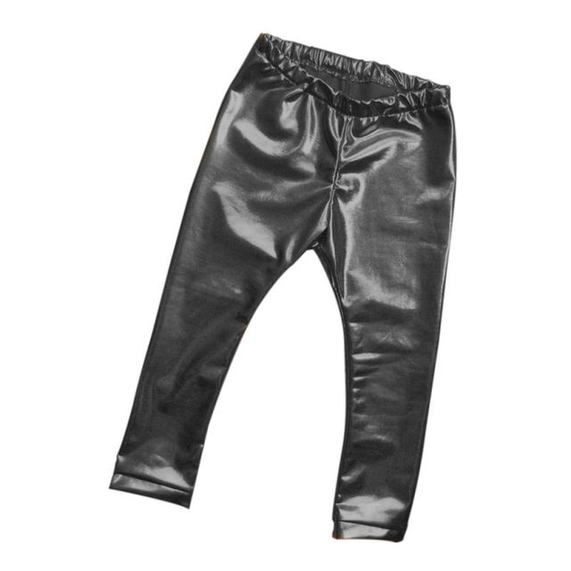 BABY Pants Girls Leather Bronzing Pants Leggings Skinny Elastic Waist Child Baby Casual Solid Black Warm Trousers 2017 New HOT