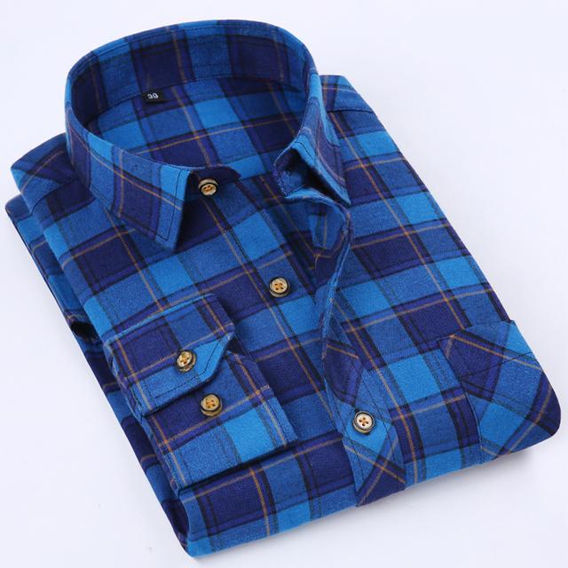 Marca Homens da Camisa de Flanela Xadrez Casuais Slim Fit Manga Longa Poliéster algodão Moda Outono Inverno Quente do Sexo Masculino Meninos Camisas de Vestido 4XL