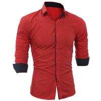 Men Fashion Dress Shirts Luxury Casual Stylish Covered Button Long Sleeve Shirt Business Men Shirt Solid Cotton Autumn Clothing