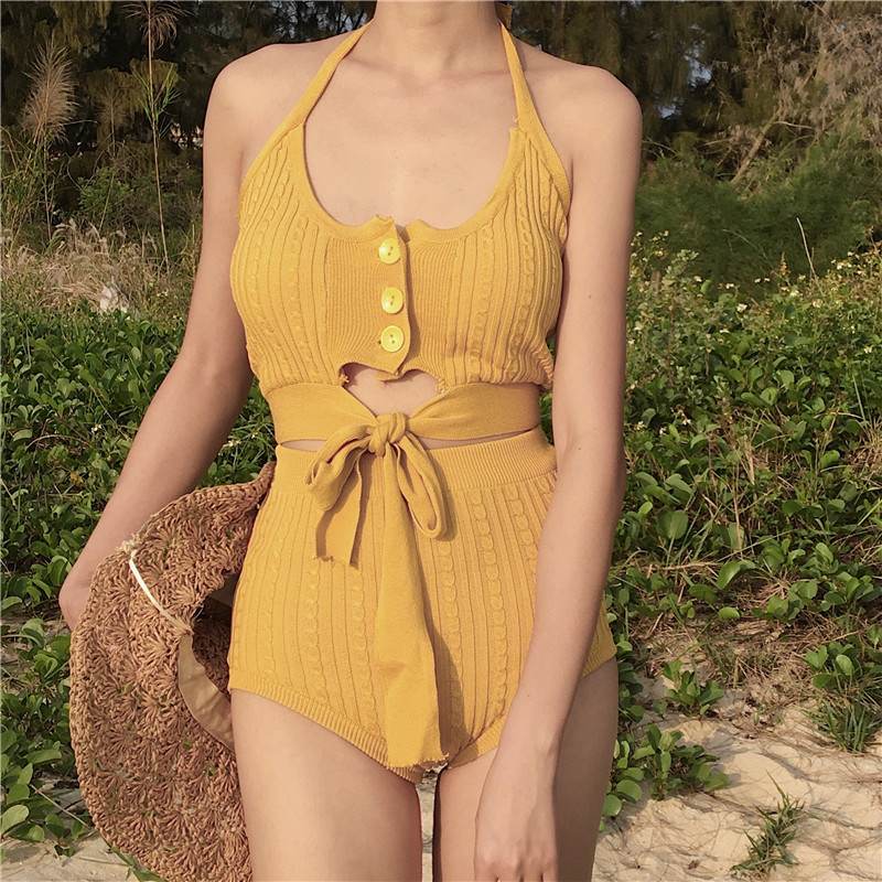 Swimwear Women 2018 Split Swimsuit Indoor Bathing Suits Bikini Bath New Sexy Push Up Korean Cute Knit Girl Boudoir Cotton Solid haisile 2015 new swimsuit korean spa small chest steel holder bikini three sets of 1525