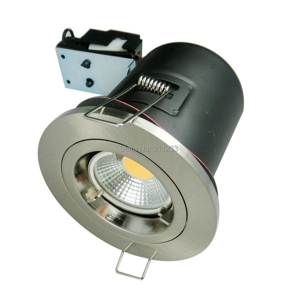 Противопожарные матовый хром GU10 встраиваемые потолочные Светильники может с G10 разъем противопожарные Открытый Прожекторы Bazel Gimbal max 50 Вт