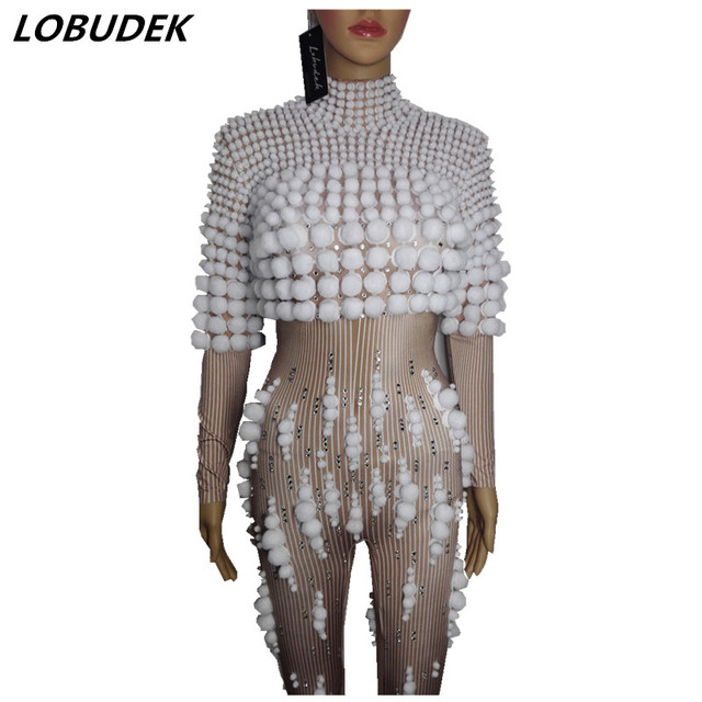 female costume crystals sexy Jumpsuit white ball outfit singer dancer nightclub Stag Party bar Prom star bar  performance show
