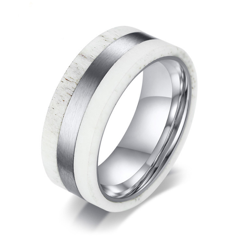 New Fashion Antler Ring for Men Matte Finished Stainless Steel Ring Precious Business Jewelry Gifts for Him