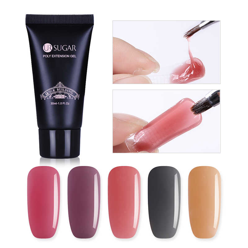 Ur Suiker 30 Ml Poly Extension Gel Franse Nail Quick Building Kristal Uv Builder Uv Gel Nail Vinger Building Crystal gel
